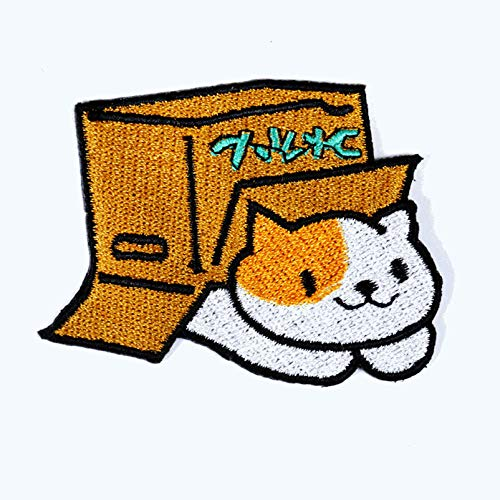 Funny Cartoon Japanese Box Lucky Cat Iron On Patches...