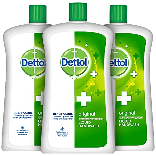 Dettol Liquid Handwash Refill Bottle – Original Germ Protection Hand Wash (Pack of 3 – 900ml each)   Antibacterial Formula   10x Better Germ Protection