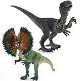 Dinosaur Animal Figurines Home Decoration Hand Painted Realistic Craft Velociraptor Dilophosaurus Figurine Preschool Educational Toys Birthday Festival Gift for Kids Girls Boys 2PC (A)