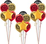 Party City WWE Champion Balloon Bouquet Supplies, Include Black, Red, and Gold Latex Balloons, Gold Stars, Gold Ribbon
