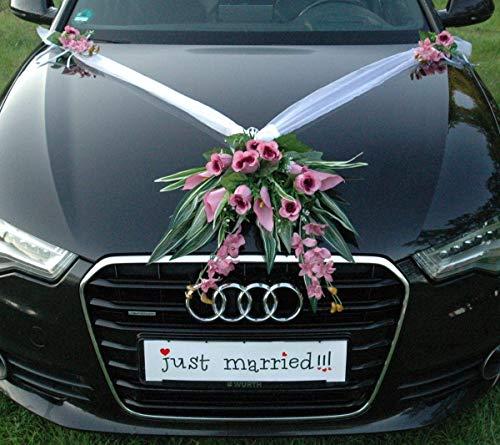 Adorno para coche, diseño de rama para novia, pareja, rosa, decoración, boda, coche, coche, color violeta