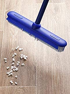 ElectroSilk Silicone Bristle Push Broom Carpet Rake Squeegee for Dust, Human and Pet Hair Remover, Multi-Tool Mop for Floor Cleaning, Adjustable Handle Up to 64 in Long, Cat Dog Fur Cleaning Supplies