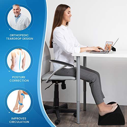 Everlasting Comfort Office Foot Rest Under Desk - Pure Memory Foam - Orthopedic Teardrop Curve Design - Non-Slip Bottom (Black)