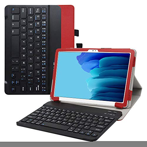 Labanema Wireless Keyboard Case for Galaxy Tab A7, Slim Separable Fit PU Leather Case Cover Wireless Keyboard For 10.4' Samsung Galaxy Tab A7 10.4 (2020) T500 T505 (Not fit Other models) - Red