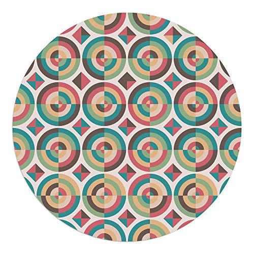 DON LETRA Alfombra Vinílica Redonda para Salón, Dormitorio, Cocina y Oficina - Candy - 100cm de Diámetro - 2mm de Grosor - Material Impermeable y Lavable, ALV-022