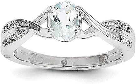 14k White Gold Blue Aquamarine Diamond Band Ring Size 7.00 Stone Gemstone Fine Jewelry Gifts For Women For Her