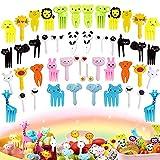 Tenedor de frutas para niños tenedor de frutas de plástico mini tenedor de postre, tenedor de frutas para niños de dibujos animados, accesorios para fiestas de frutas de postre