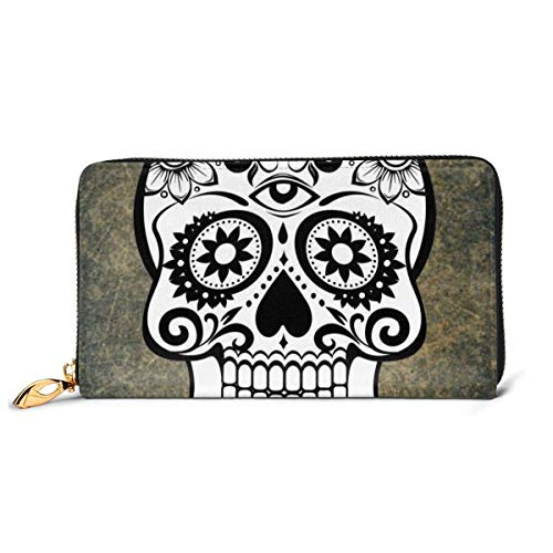 Rose Sugar Skull Large Capacity Zip Around Slim Billfold PU Leather Wallet Card Holders for Men Women Boy Girl