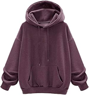 iHHAPY Womens Plush Pullover Thick Sweatshirt Hoodie Sport Shirt Casual Blouse Warm Jumper Winter Solid Oversized Hoodie