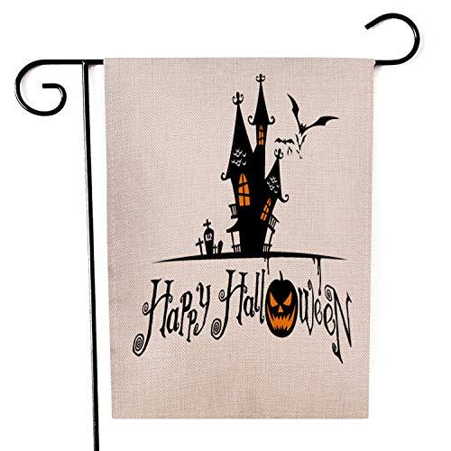 Yangxuelian Halloween-Banner Leinen Garten Flagge Halloween Vertikale Garten Flagge for Party Halloween Dekorationen 45 × 30cm Für die Party (Color : B, Size : 45×30cm)