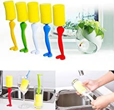 Sponge Cleaning Brush - 1 Piece Placstic and Sponge Cleaning Brush Bottle Brush Kitchen Cleaning Tool Sponge Brush Washing Brushes - RANDOM COLOR