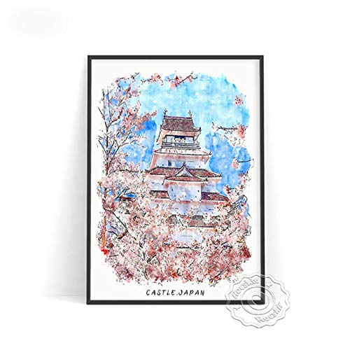 lubenwei Watercolour World City Travel Poster London Brussels Japan Rome Wall Pictures Germany Belgium Italy Print Art Home Decor (AU-447) 50x70cm No frame