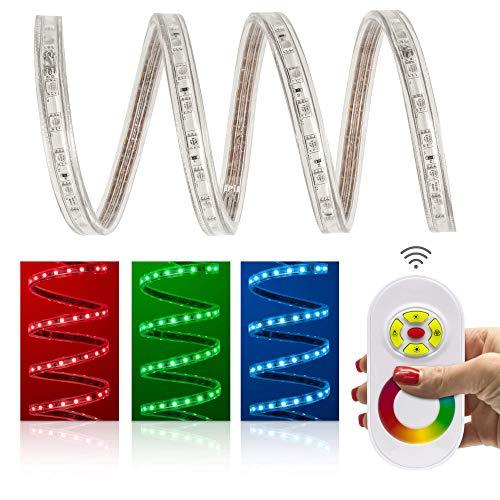 7 mètres professionnel Set de Le bande LED RVB protection IP68 60 LED/m Blanc Chaud 230 V) avec contrôleur et télécommande