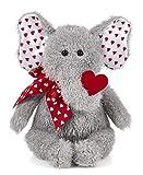 Bearington Hugh Loves You Plush Stuffed Animal Elephant with Heart, 13 inches