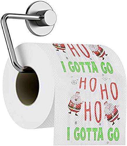 5 Rollen Lustige Weihnachten Toilettenpapier, Weihnachtsmann Klopapier 'Ho Ho Ho I Gotta Go'| Hochwertiges Weichpapier| Badezimmer Weihnachtsdekor Witzige Neuheit Geschenk.