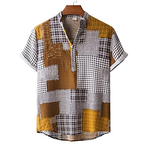 SSBZYES Camisas para Hombres Camisas De Verano De Manga Corta Camisetas para Hombres Tops para Hombres Camisas De Talla Grande Cuello Alto Camisas Florales Informales para Hombres De Algodón