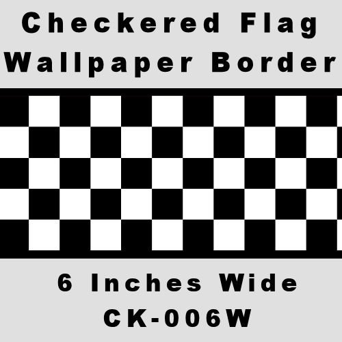 Checkered Flag Cars Wallpaper Border-6 Inch (Black Edge)