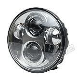 新型 LED プロジェクター ヘッドライト 5.75インチ (5-3/4inch) ハーレー Harley Davidson シルバー 銀 防水 汎用 ヘッドランプ バイク