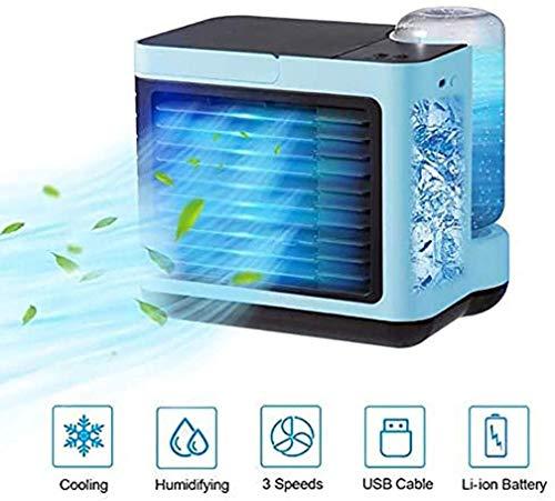Lushandy Mini-Klimagerät, Mini-Klimaanlage, 4-in-1 Mini-Klimaanlage, drei Stufen einstellbar, starke Kühlung, einfach zu tragen, Luftfiltration, geeignet für Arbeit / Zuhause (blau)