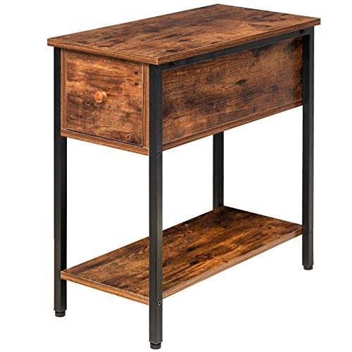 IBUYKE Side Table 60x30x61cm, 2-Tier End Sofa Table with Drawer, Narrow Nightstand for Small Spaces, Stable and Sturdy Construction, Wood Look Accent Furniture with Metal Frame TMJ057H