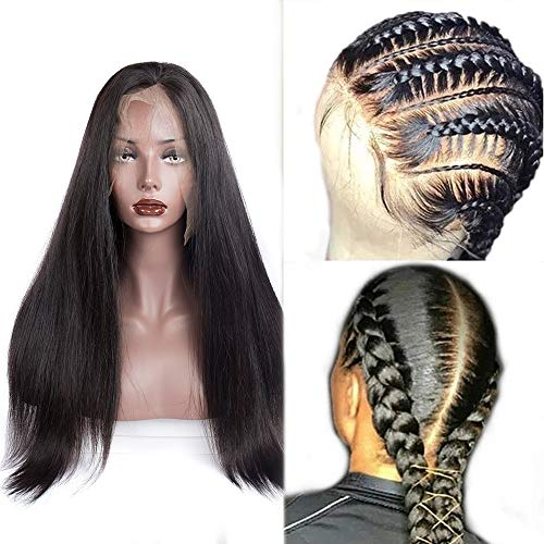 Straight Full Lace Wigs Human Hair Pre Plucked Bleached Knots With Baby Hairs Brazilian Straight Hair Full Lace Wigs for Black Women 180% Density Natural black 18inch