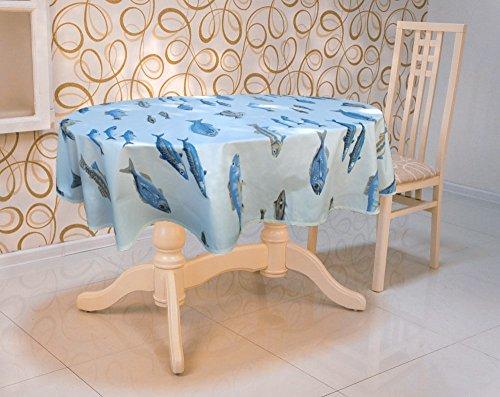 jojo la cigale - Nappe CALANQUES Coton Imprimé Enduit Ovale 160x200cm Blanc & Bleu