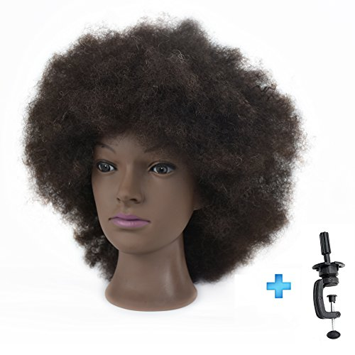 Afro Mannequin Head 100% Human Hair 8'Cosmetology Manikin Training Head with Free Clamp