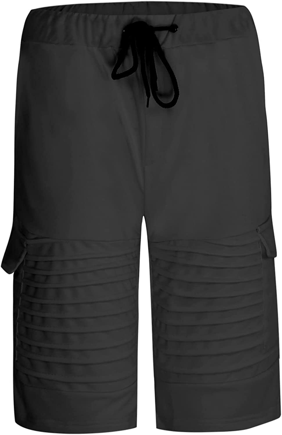 Xiazheuy Mens Shorts Cargo Shorts Casual Pleated Solid Fitness Sports Drawstring Pockets Five-Point Jogger Shorts