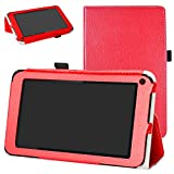 DigiLand DL7006 / DL718M / DL721-RB Case,Mama Mouth PU Leather Folio 2-Folding Stand Cover with Stylus Holder for 7.0' DL7006 / DL718M / DL721-RB Android Tablet,Red