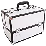 WAFJAMF Professional Aluminum Makeup Artist Train Case Large Cosmetic Box Jewelry Storage Organizer Case with Lockable keys and Compartments (White)