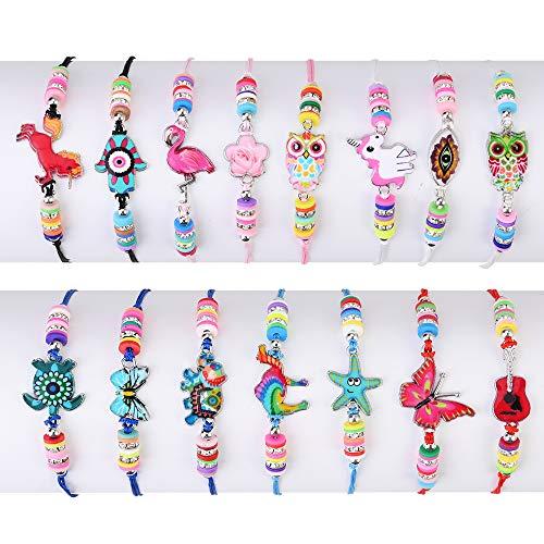 Faburo 15pcs Braccialetti Amicizia Bambini, Braccialetto per Bambini Tessuti Unicorno Regolabile Intrecciati per Festa Compleanno Regalo Gioielli Ragazza
