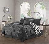 Geneva Home Fashion Multi-Piece Reversible Comforter Set, Queen, Charcoal