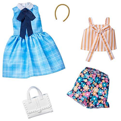 Kit de Ropa de Barbie Fashionistas con 2 Trajes para muñecas, Incluyendo Vestido Azul, Camiseta a Rayas, Pantalones de Flores y Accesorios para niños, GHX65