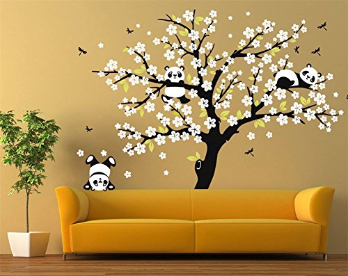 """Fymural Pandas Plying on Trees Branches Wall Decal for Living Room TV Background Removable Decoration Art Sticker 86.6x70.9"""",Black+White"""