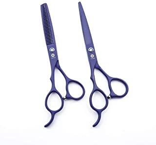 "Professional Barber/Salon Razor Edge Stainless Steel 6"" Left Handed Hair Cutting Thinning/Texturizing Scissors/Shears Set (Violet)"