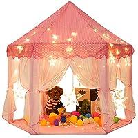 LightTheBo子供用テント キッズテント プリンセスの城型 折り畳み式 プレイハウス キラキラLEDスターライト付き 秘密基地 お誕生日・クリスマスプレゼント・おままごと (ピンク)