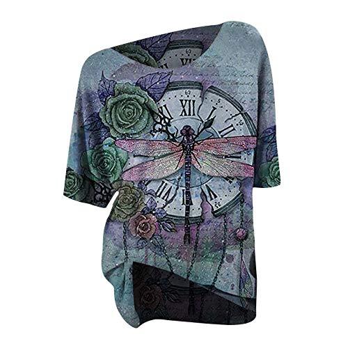 T-Shirt Damen Libelle Retro Kurze Ärmel Rundhals Top Lässige Lose Kurzarm Tunika Bluse Shirt Oberteil Kleidung