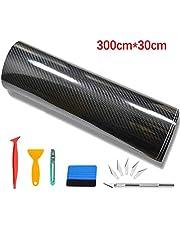 CompraFun Pellicola Adesiva per Auto, Pellicola Adesiva Fibra di Carbonio Rivestimento Adesivo Nero Car Sticker Wrapping Auto e Moto (6D + Accessori)