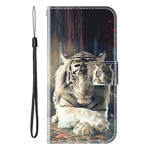 vingarshern Hülle für Oukitel U7 Plus Handytasche Klappbares Magnetverschluss Lederhülle Flip Leder Etui Standfunktion Schutzhülle OUKITEL U7 Plus Hülle Brieftasche (Tiger) MEHRWEG