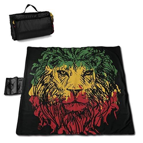 GuyIvan Strand Picknick Decke Rasta Thema mit Löwenkopf wasserdicht Outdoor Handy Matte Falttasche Outings Quick Dry Bag