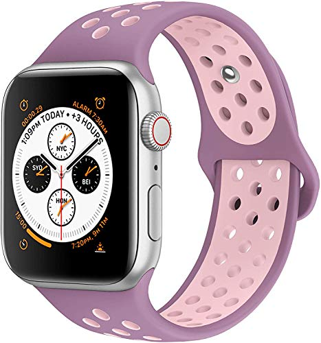AdMaster Compatible with Apple Watch Bands 42mm 44mm, Soft Silicone Replacement Wristband Compatible with iWatch Series 1/2/3/4 - S/M Violet/Plum Fog