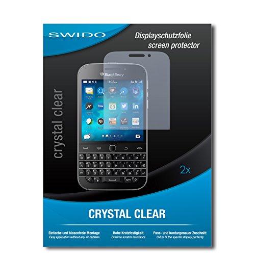 SWIDO Schutzfolie für BlackBerry Classic [2 Stück] Kristall-Klar, Hoher Festigkeitgrad, Schutz vor Öl, Staub & Kratzer/Glasfolie, Bildschirmschutz, Bildschirmschutzfolie, Panzerglas-Folie