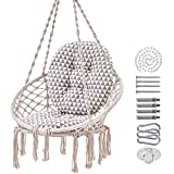 SUPERJARE Hammock Chair with 2 Cushions, Macrame Swing with Hanging Kit and Chain, Durable Cotton Rope Swing for Indoor, Outdoor, 330 Lbs Capacity - Beige