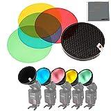 Fomito Godox AD-S11 Paquete Kit de Filtro de colores Gel con Kit de Reflector de Cubierta de Rejilla de Nido de abeja Panal Honeycomb para Witstro Flash AD180 AD360