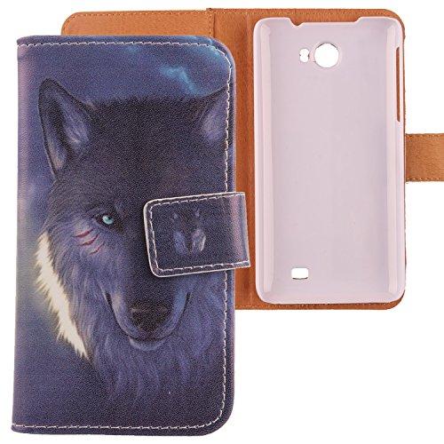 Lankashi PU Flip Leder Tasche Hülle Hülle Cover Schutz Handy Etui Skin Für Kazam Trooper 2 5.0 Wolf Design