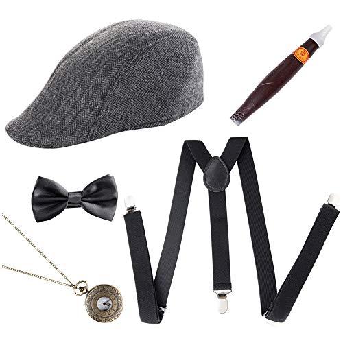 Vap26 Lot de 5 accessoires rétro pour homme Style années 20, Noir , l:30.000cm,w:27.000cm,h:5.000cm