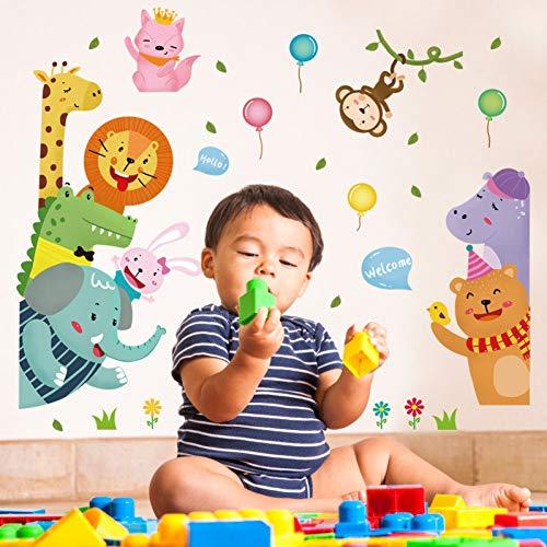 MMLFY Muursticker Leuke dierlijke muur stickers welkom om olifant leeuw ballon kinderen kamer slaapkamer veranda decor deur stickers muurschilderingen dragen