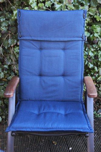 Brafab Sun Garden Hochlehner Auflage Mexiko mit Kopfumschlag Dessin 50089-1 Dunkelblau (nur Auflage ohne Stuhl)