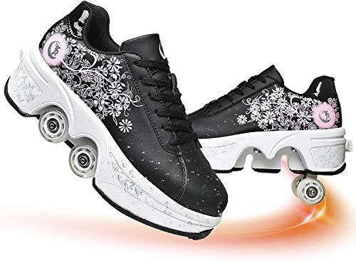 Multifunción Deformación Zapatos De Skate Caminata Automática Cuatro Ruedas Patines De Ruedas Zapatillas Deportivas Y De Ocio para Niños Adultos,Black+Pink,36