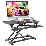Duronic DM05D22 Workstation - Elektrisch Höhenverstellbar 15-50cm - Standtisch mit 85x51cm Fläche - 15kg Belastbarkeit - Sit-Stand Stehpult mit Tastaturhalterung - Ergonomischer Schreibtisch-Aufsatz